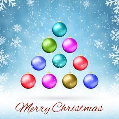 Ten multicolored Christmas balls
