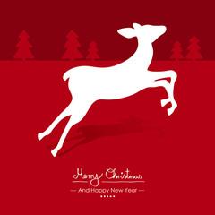 Rote Vektor Grußkarte für Weihnachten und Neujahr- Merry Christmas - Happy New Year - Jahreswechsel. Weihnachtskarte Hintergrund. Symbol und Silhouette. Rehkitz, Reh, Horizont mit Tannenbäumen.