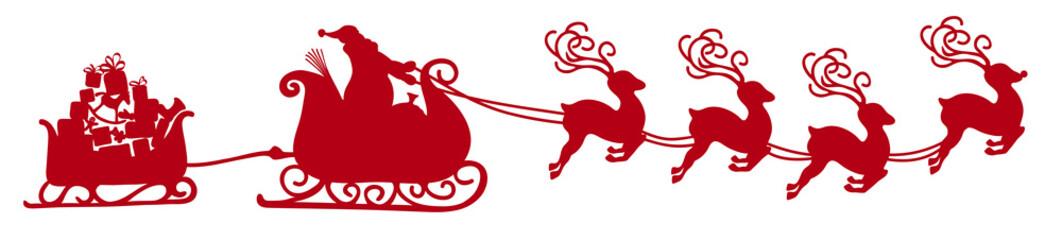 Weihnachtsmann mit Rentierschlitten, Anhänger und Geschenken. Freigestellte, rote Vektor Silhouette. Isoliert auf weißem Hintergrund. Shape, Kontur, Schattenriss Vorlage. Weihnachtsschlitten. XMas