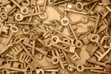 Assortment of different antique keys