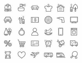 Online store, product categories, icons, linear, monotone.