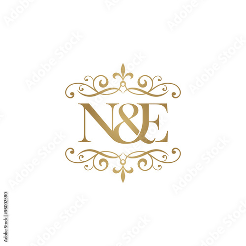 """""""N&E Initial Logo . Ornament Ampersand Monogram Golden Logo"""