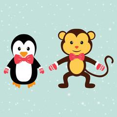 penguin and winter monkey