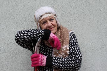 Senior woman in ski holiday