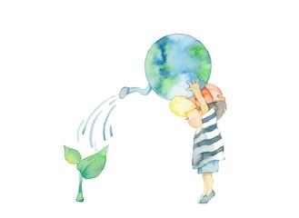 地球と男の子のエコイメージ
