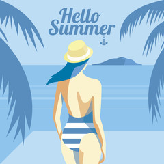 Retro poster with a girl on the beach with an island background and palm trees. Holiday concept - vector illustration