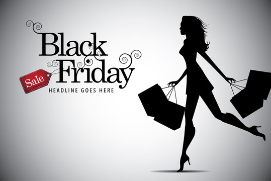 Elegant shopping woman Black Friday advertising background template. EPS 10 vector, grouped for easy editing. No open shapes or paths.