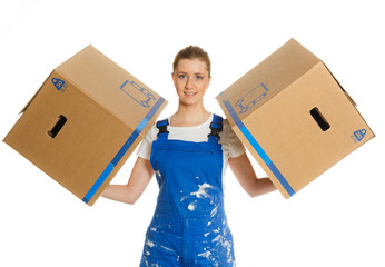 Strong woman with two moving boxes