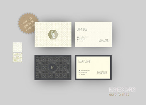 Set of  Business cards - back and front with Arabic seamless patterns. Euro size
