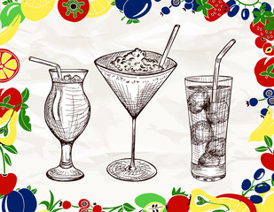 Hand drawn set of cocktails with cartoon colored fruits