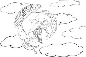 Coloring page Pegasus soaring