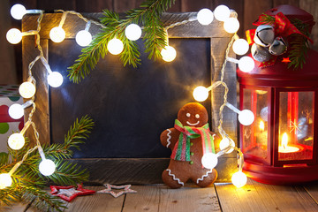 Christmas decoration with chalkboard