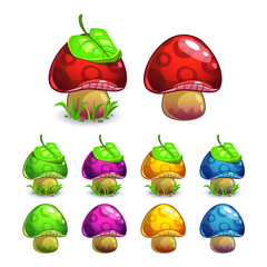 Cute cartoon vector mushrooms set