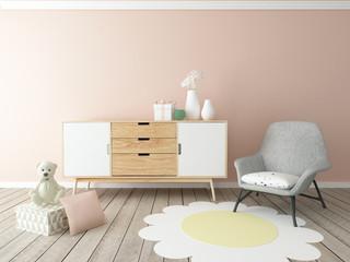 girl room interior, baby room, nursery, playroom