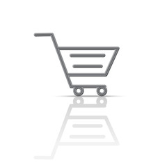 Icon, shopping cart, shopping trolley, symbol, isolated vector