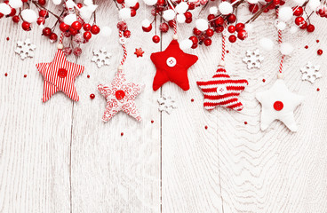 Christmas decoration with red stars and snowflakes