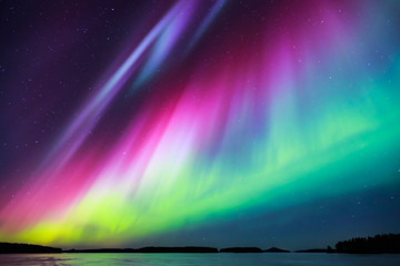 Aluminium Prints Northern lights Northern lights (Aurora borealis) in the sky