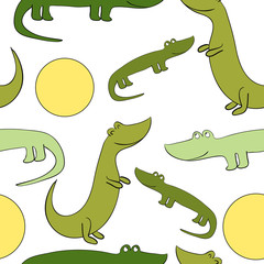 Funny and cute  crocodiles. Vector seamless pattern