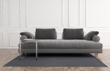 Grey couch in a white panelled room