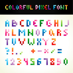 The colorful pixel font. The template letters for ingenious icons and logotypes.