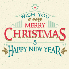 Wish you a very Merry Christmas and happy New Year. Typographic cover design of greeting card