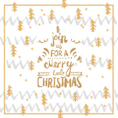 Vector Christmas Greeting Card with lettering and hand drawn trees