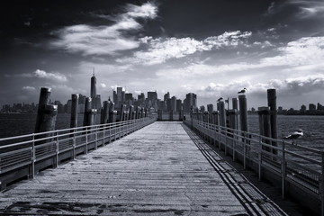 Fond de hotte en verre imprimé Bestsellers New York City Skyline from Pier on Liberty Island