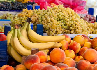 Fresh Organic Peaches, Grapes And Bananas