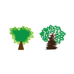 tree vector icon nature abstract set illustration logo trees plant