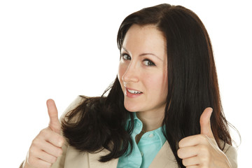 Young woman thumbs up.