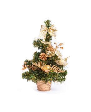 Mini Christmas tree decoration on white background