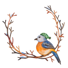 Watercolor bird with a hat on a branch