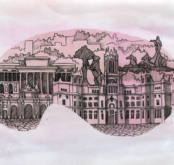 the panoramic view of Madrid city of Spain country of European Union hand drawn isolated on the color background