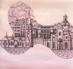 the panoramic view of Stockholm city of Sweeden of European Union hand drawn isolated on the color background