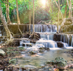 Wall Mural - Waterfall in Tropical forest at Huay Mae Kamin, Thailand