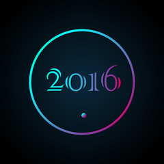 2016 New year poster, greeting card in minimalism style