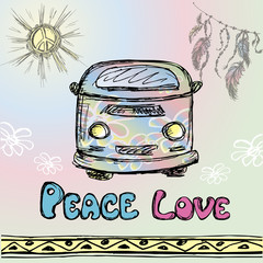 Colorful hippie car, hand drawing