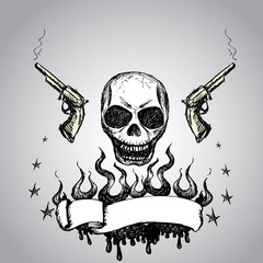 Skull with revolvers and  ribbon for text