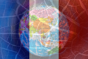 French flag on crack global background, pray for Paris