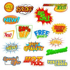 Pop art comic sale discount icons