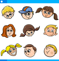 children characters faces set
