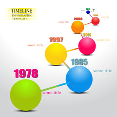 Vector balls Timeline Infographic Template with pointers