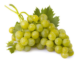 green grapes with leaves isolated
