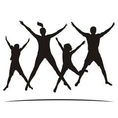 Happy Family Jump Black Silhouette Vector