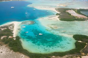 Aerial view of yachts at archipelago Los Roques, Venezuela