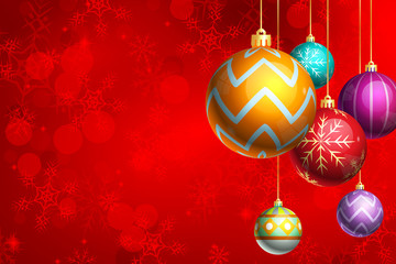 Red Christmas Background with Shiny Ornaments
