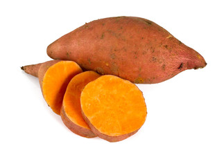 sweet potato isolated on white