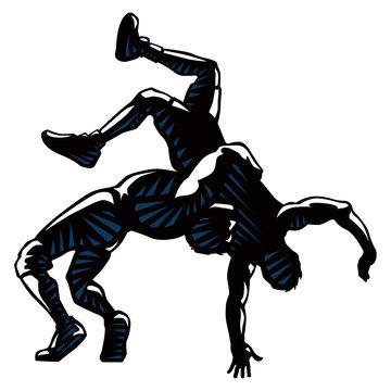 wrestlers vector silhouette