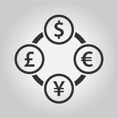 Currency exchange dollar, euro, yen and pound sterling icon. The four most traded currencies in the world.