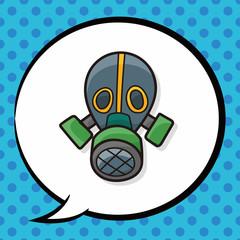 Gas masks color doodle, speech bubble